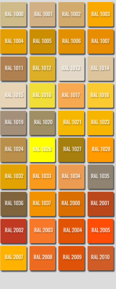 Ral Colours 1000 to 2010