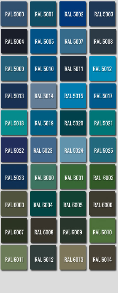 Ral Colours 5000 to 6014
