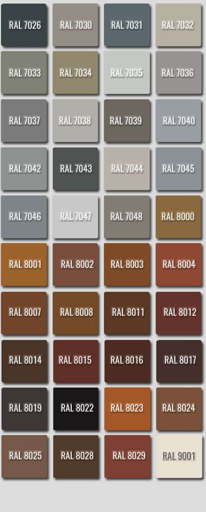 Ral Colours 7026 to 9001